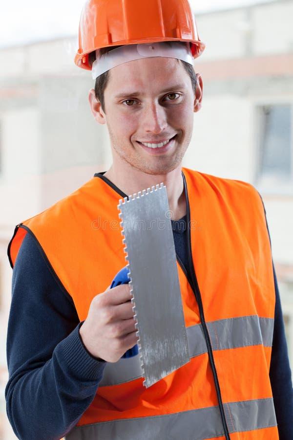 Ingenieur mit Spachtel stockfoto