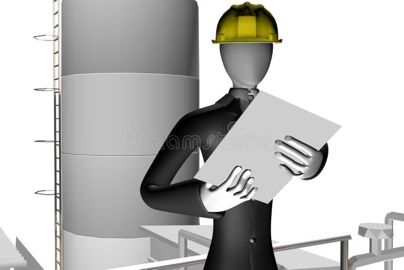 Ingenieur op industriële plaats stock illustratie