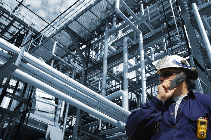Ingenieur, Schmieröl, Gas und Leistung stockfotos