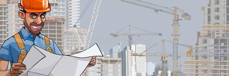 Ingenieur van de beeldverhaal kijkt de mannelijke bouwer in de blauwdrukken stock illustratie