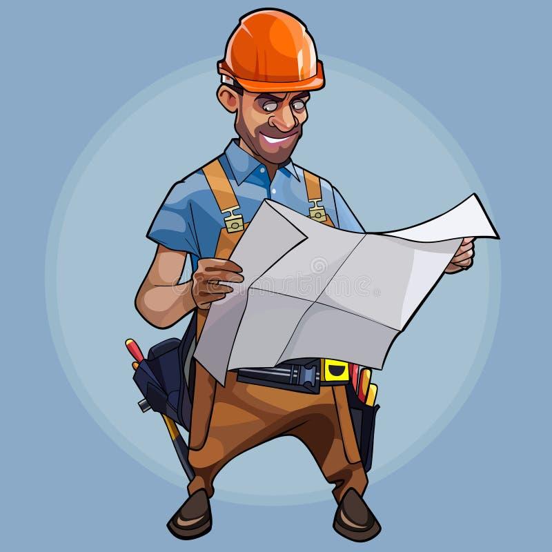 Ingenieur van de beeldverhaal onderzoekt de mannelijke bouw blauwdrukken op blauwe achtergrond vector illustratie
