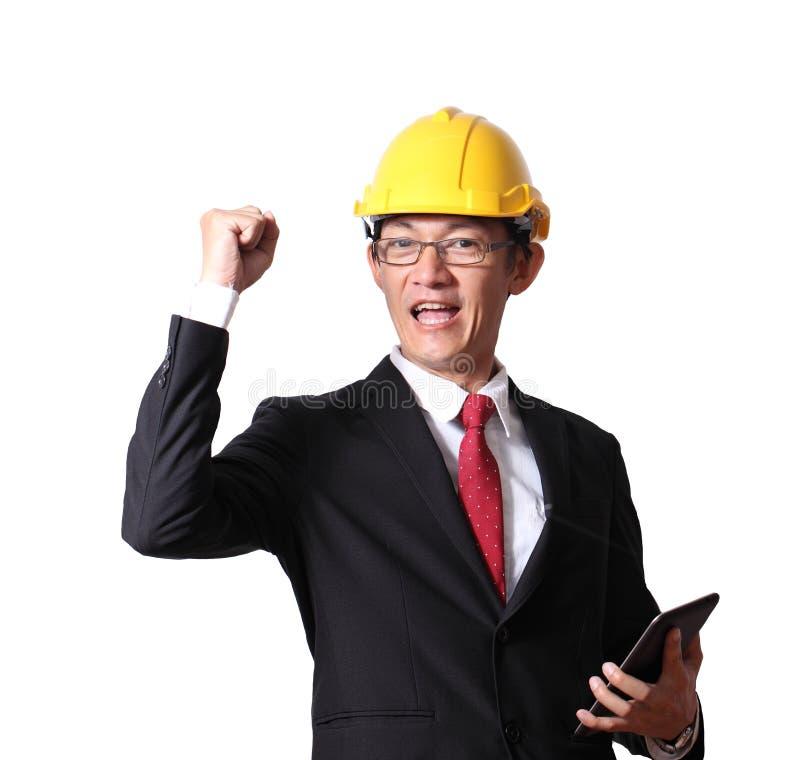 Ingenieur, Vorarbeiter und Arbeitskraft heben die Hände an, die oben auf wh lokalisiert werden stockfotos