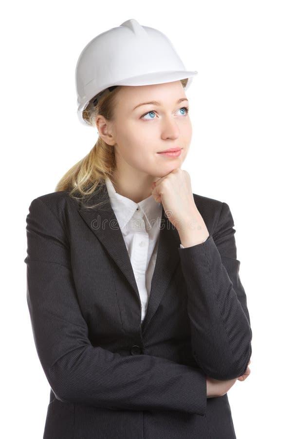Ingenieur Woman Thinks stock afbeelding
