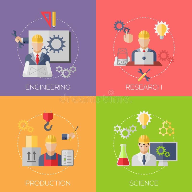 Ingenieurbau-Herstellungsarbeitskräfte mit lizenzfreie abbildung