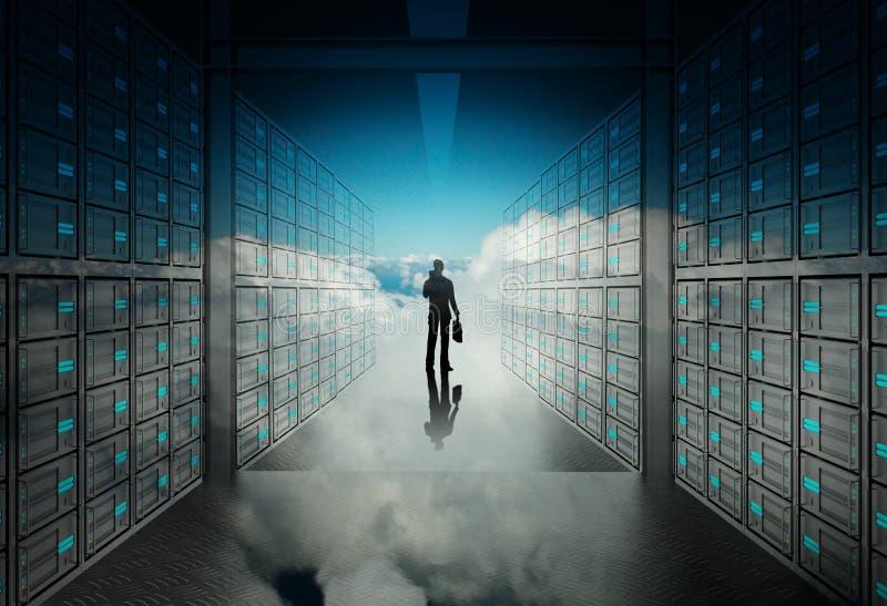 IngenieurGeschäftsmann im Netzwerk-Server 3d stock abbildung
