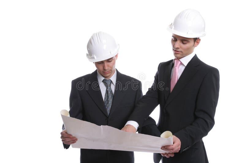 Ingenieurs die nieuw project bespreken stock foto's