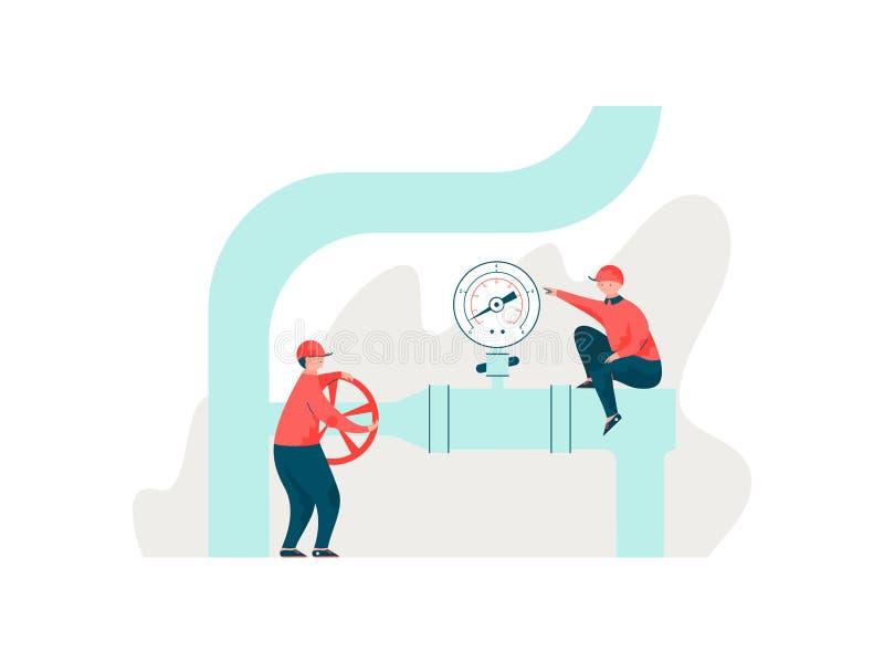 Ingenieurs die Pijpleiding, Arbeiders in de Eenvormige het Onderhouden Vectorillustratie van het Techniekmateriaal inspecteren stock illustratie