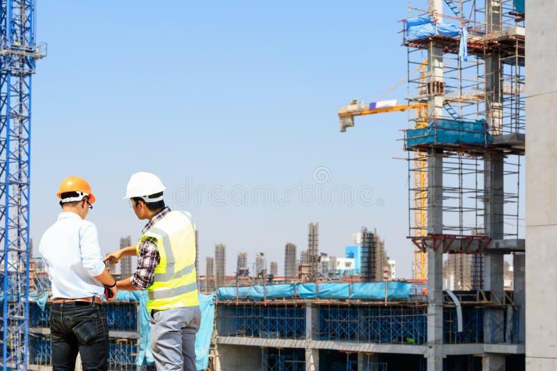 Ingenieurs en bouwwerven stock fotografie