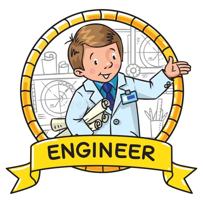 Ingenieurs kleurend boek ABC van beroep embleem vector illustratie