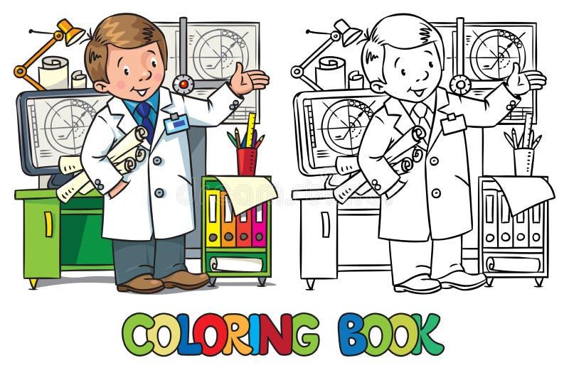 Ingenieurs kleurend boek De reeks van beroepsabc royalty-vrije illustratie