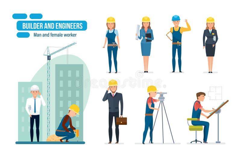 Ingenieursbeeldverhaal met bouwvakkers, architect, hersteller en directeur wordt geplaatst die stock illustratie