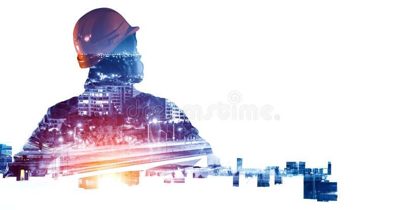 Ingenieursmens en cityscape Gemengde media stock afbeelding