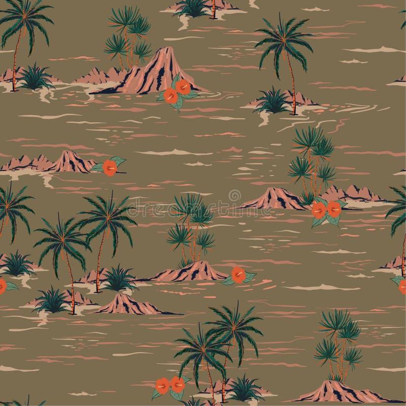 Ingenio inconsútil del paisaje del modelo de la isla del humor retro elegante del verano ilustración del vector