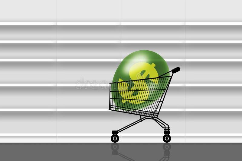 Ingenting att köpa i tom supermarket vektor illustrationer