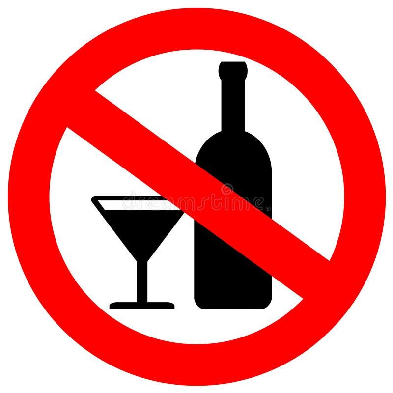 Inget alkoholtecken royaltyfri illustrationer