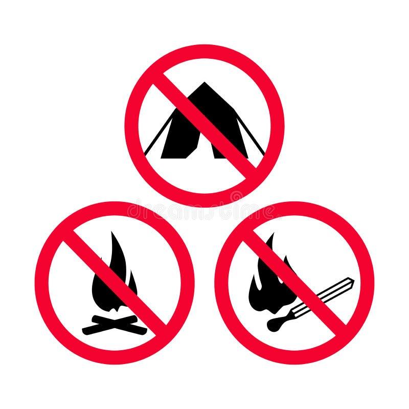 Inget campa, ingen brand och inget rött förbudtecken för öppna flammor vektor illustrationer