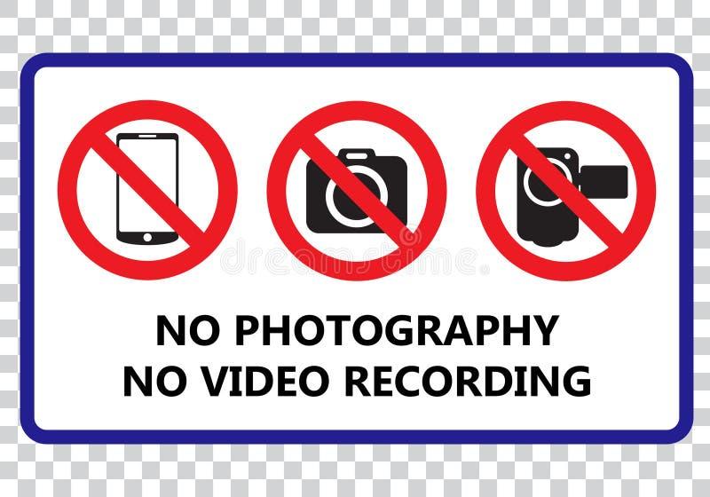 Inget fotografi och ingen videoinspelningskylt stock illustrationer