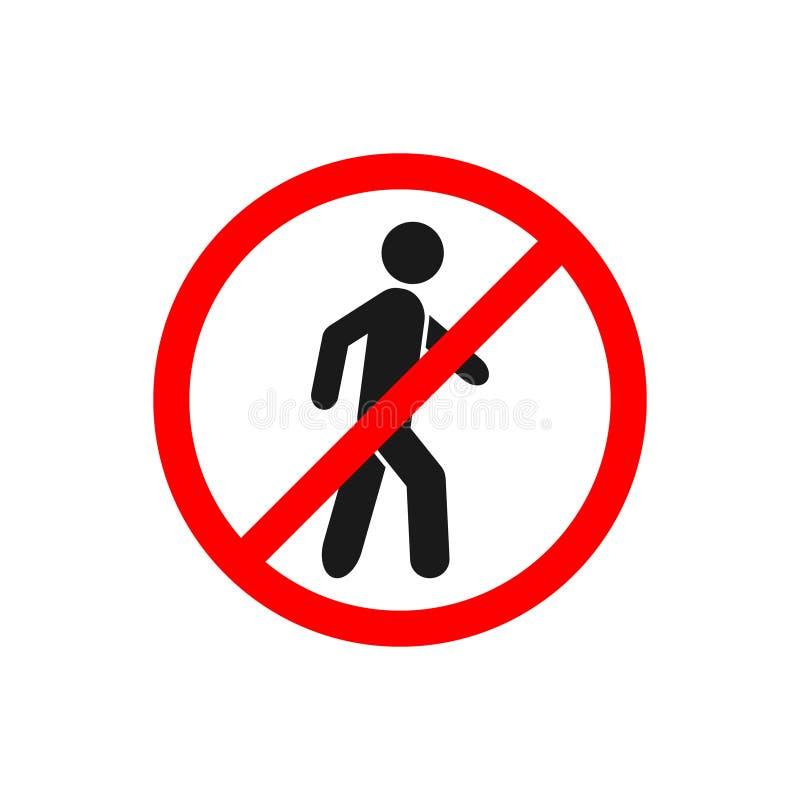 Inget gå trafiktecken, förbud ingen fot- teckenvektor för den grafiska designen, logo, webbplats, socialt massmedia, mobil app, u vektor illustrationer