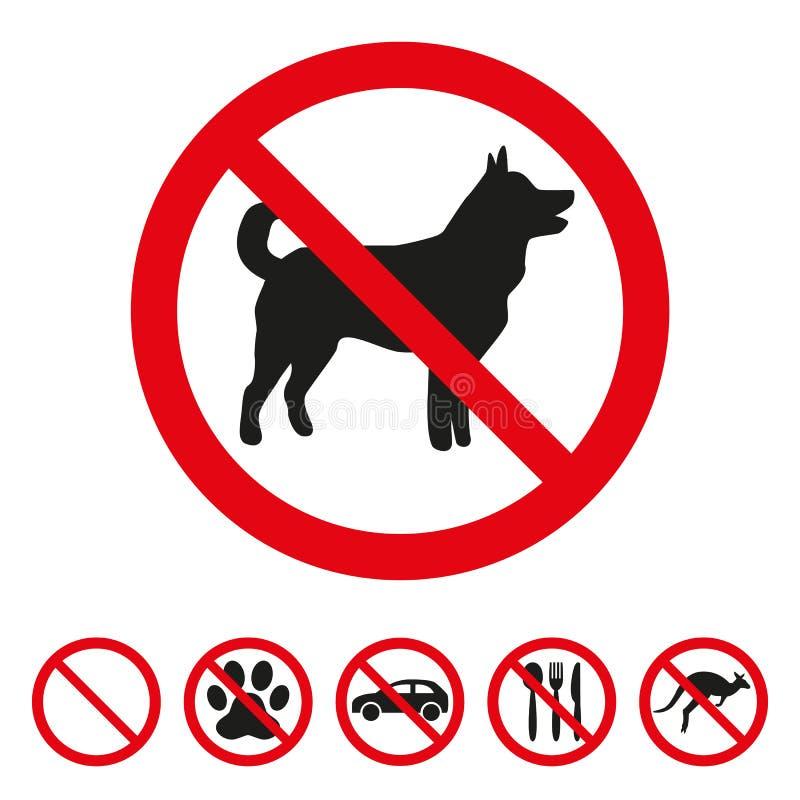Inget hundtecken på vit bakgrund royaltyfri illustrationer