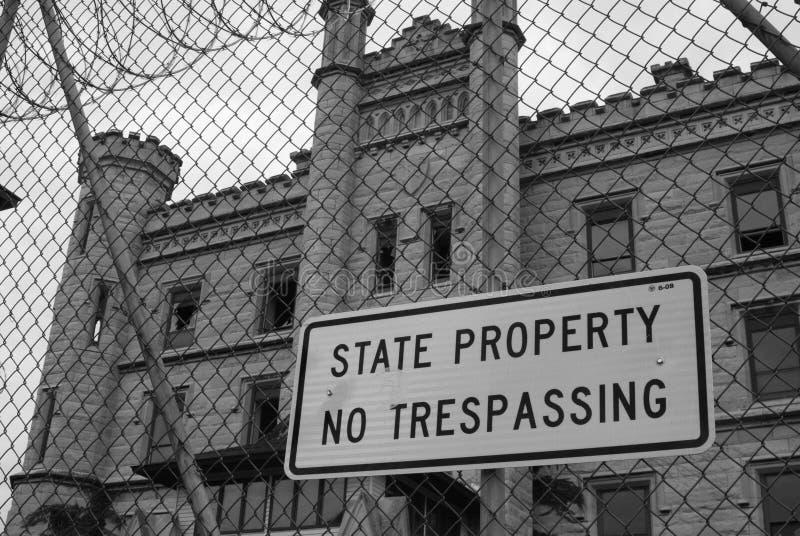 Inget inkräkta på den stängda tidigare Joliet delstatsfängelset arkivbild