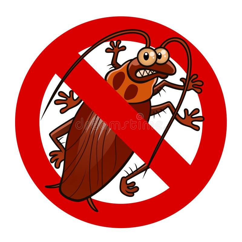 Inget kackerlackatecken stock illustrationer