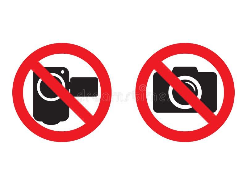 Inget kamera och videopn rött förbudtecken Ta bilder och att anteckna inte tillåtet Inget fotografera tecken Inga videokamerasig vektor illustrationer