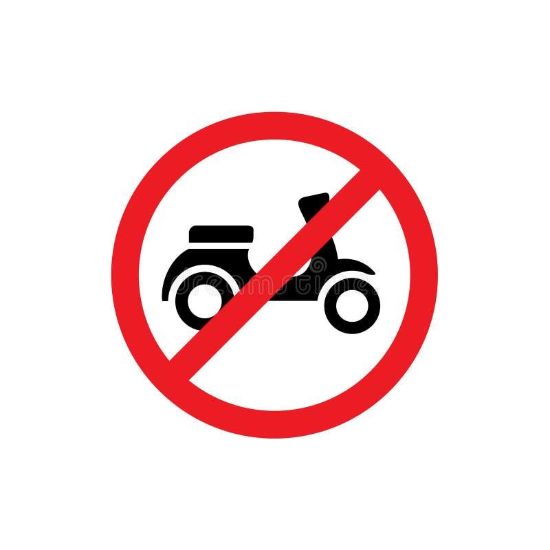 Inget motorcykel förbjudit tecken, förbudsymbol, stock illustrationer