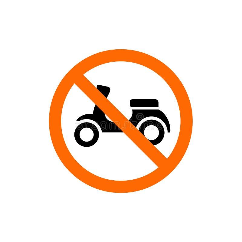 Inget motorcykel förbjudit tecken, förbudsymbol, royaltyfri illustrationer