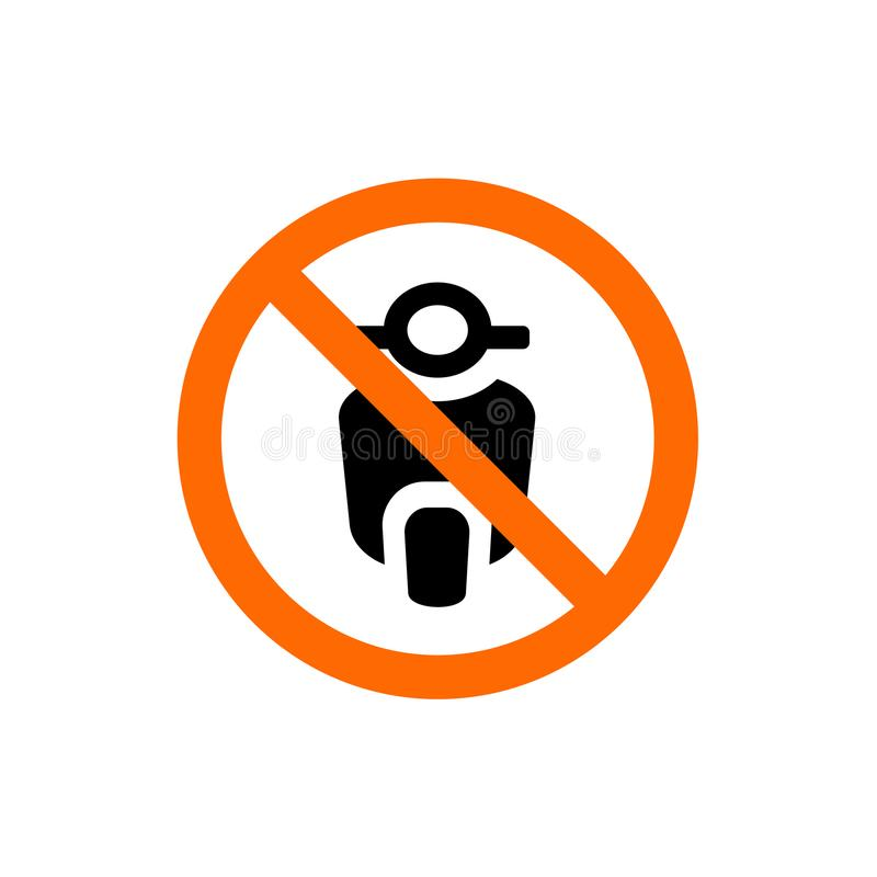 Inget motorcykel förbjudit tecken, förbudsymbol, vektorillustration vektor illustrationer
