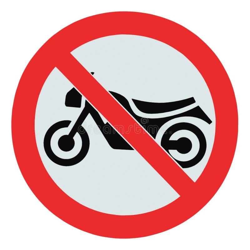 Inget motorcykeltecken som isoleras ingen för förbudzon för cyklar tillåten signage för varning arkivfoton