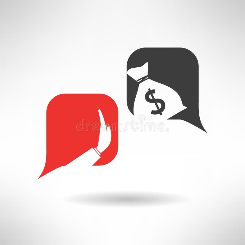 Inget mutatecken Korruptiondialog med bubblor stock illustrationer