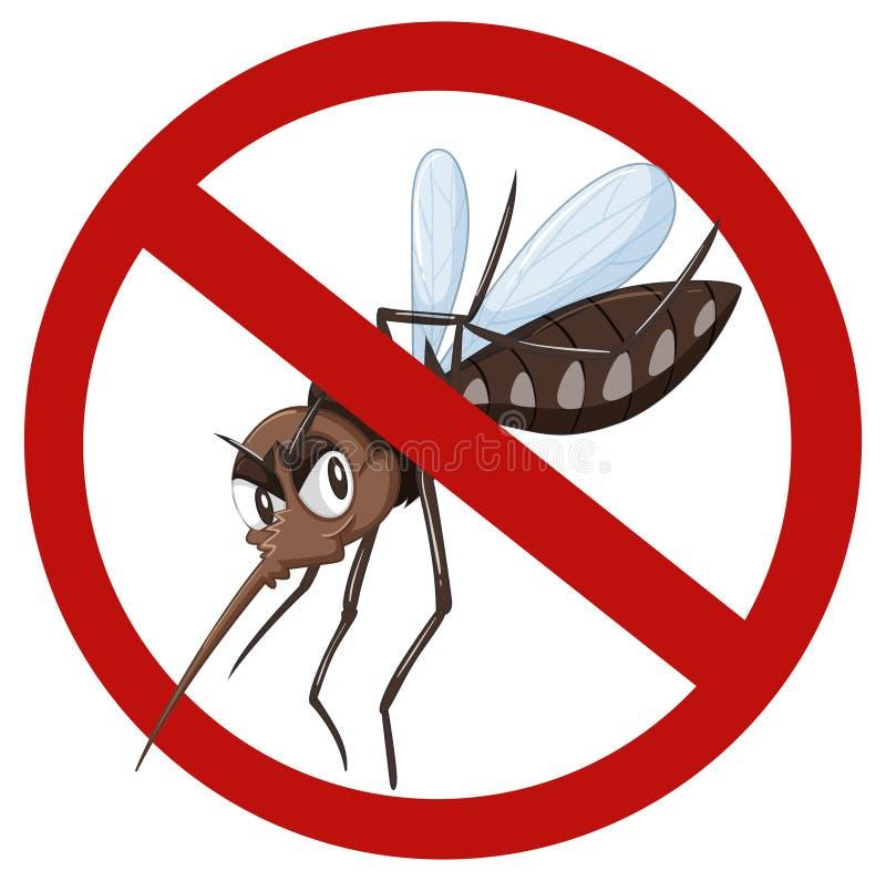 Inget myggatecken på vit stock illustrationer