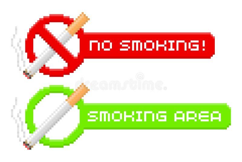Inget PIXEL - röka och röka områdestecken stock illustrationer