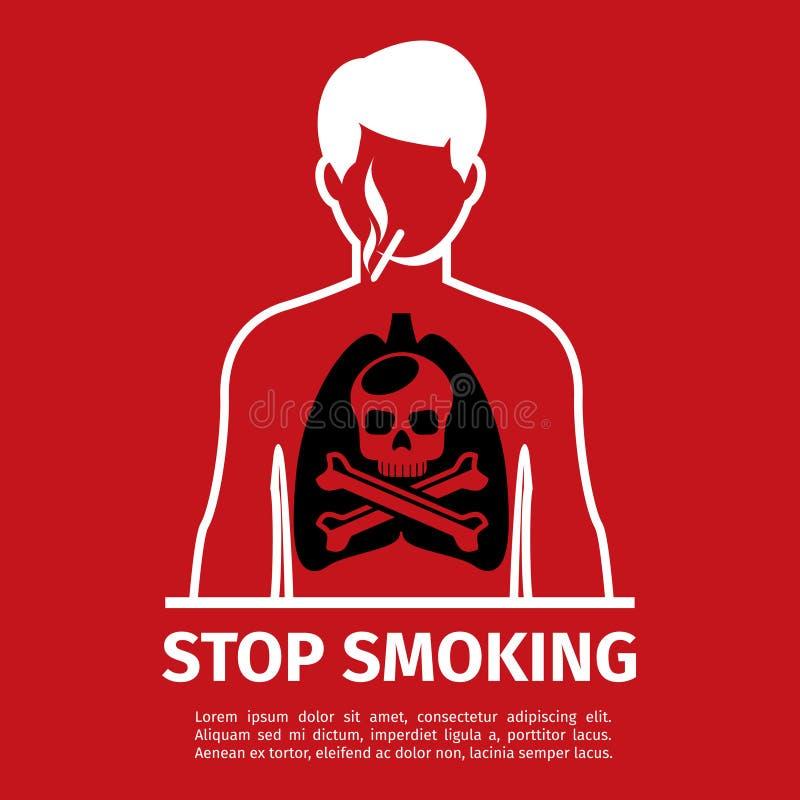 Inget - röka affischen Man med skalle- och korsben royaltyfri illustrationer