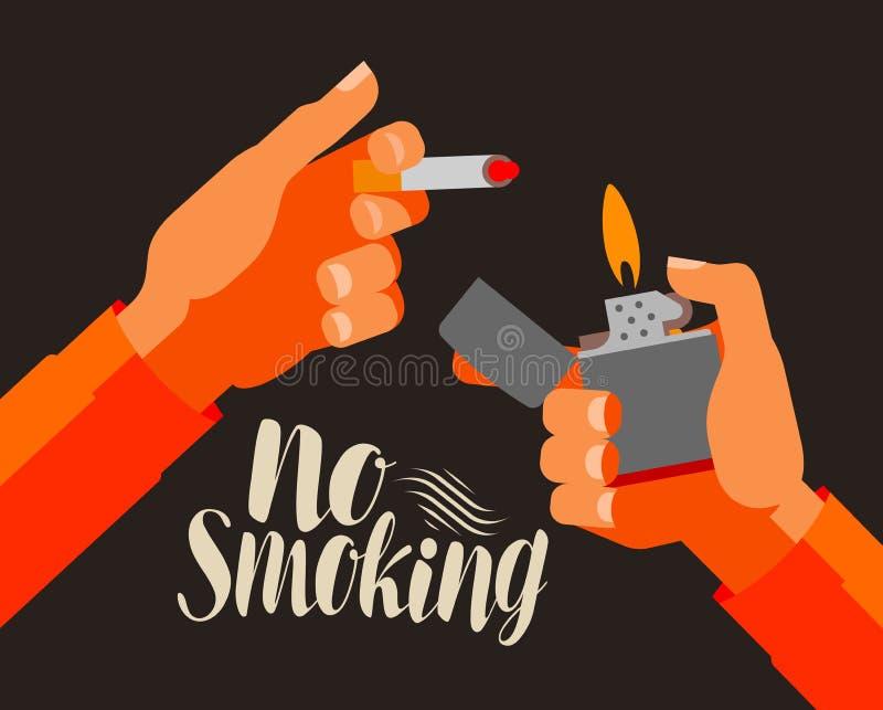 Inget - röka, baner Nikotin cigarett, tobakbegrepp den främmande tecknad filmkatten flyr illustrationtakvektorn stock illustrationer