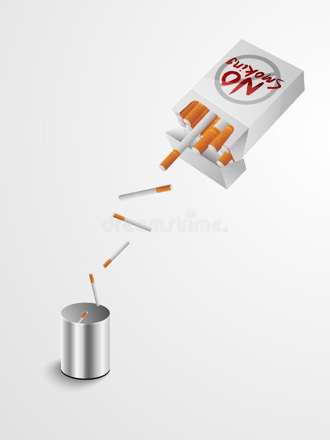 Inget - röka dagbegrepp med cigaretter som dumpar till soptunnan vektor illustrationer