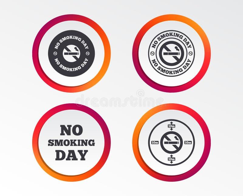 Inget - röka dagsymboler Mot cigaretter stock illustrationer