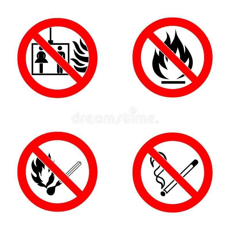 Inget - röka, ingen öppen flamma, inga matcher, ingen elevator royaltyfri illustrationer