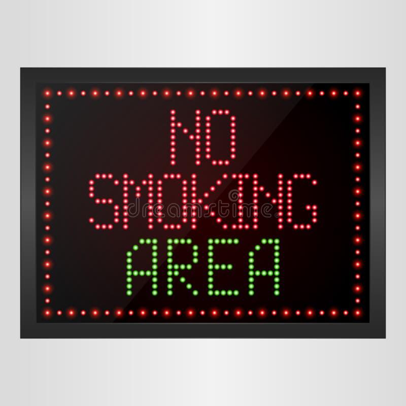 Inget - röka områdesmeddelandet LEDDE det digitala tecknet royaltyfri illustrationer