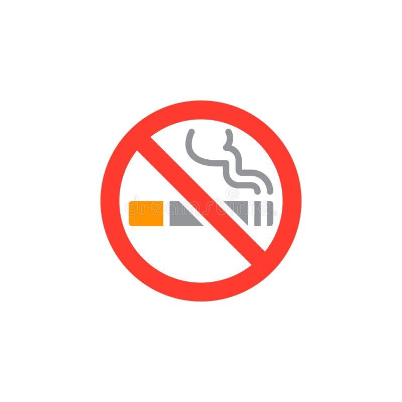 Inget - röka områdessymbolsvektorn, fyllt plant tecken, fast färgrik pictogram som isoleras på vit vektor illustrationer