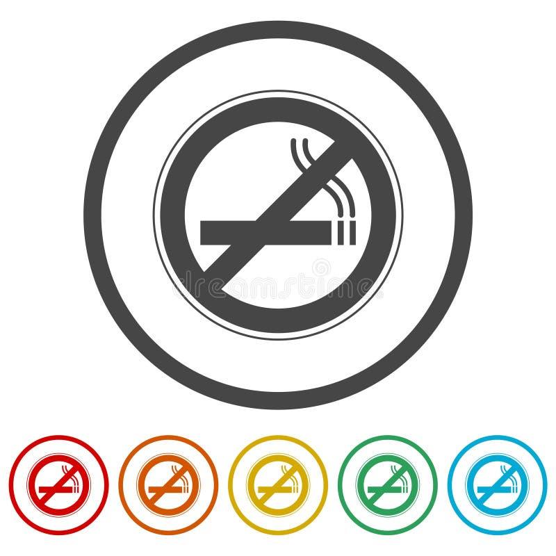 Inget - röka som är inget - röka tecknet, 6 inklusive färger stock illustrationer