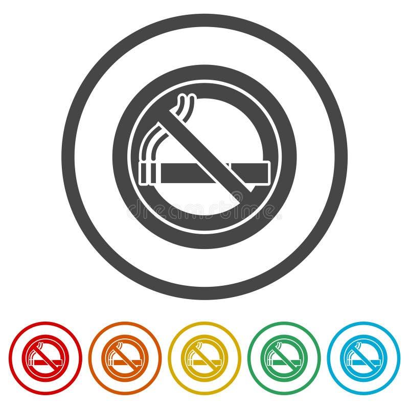 Inget - röka som är inget - röka tecknet, 6 inklusive färger royaltyfri illustrationer
