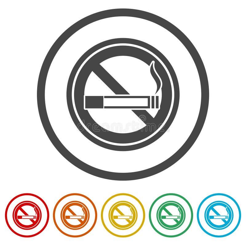Inget - röka som är inget - röka tecknet, 6 inklusive färger vektor illustrationer