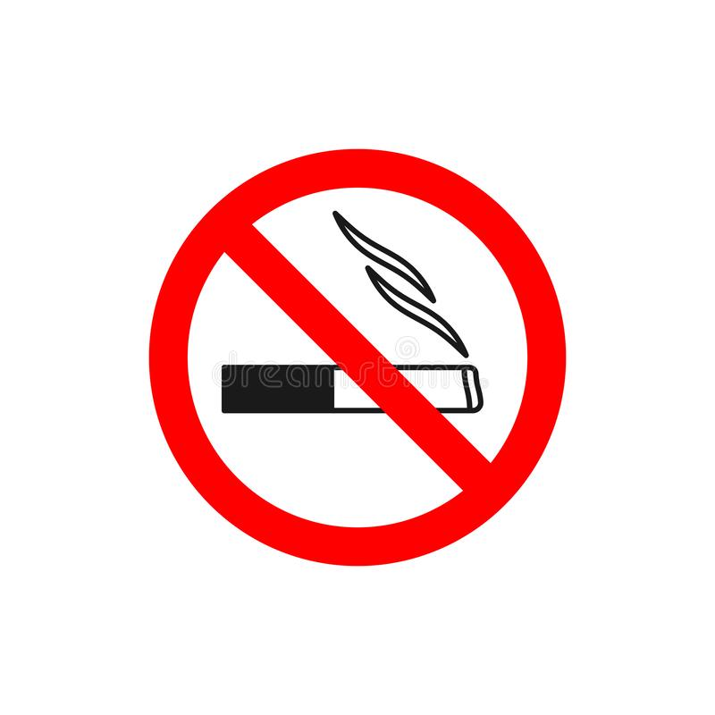 Inget - röka symbol Svarta linjer cigarett i röd korsad cirkel Förbjudet tecken med cigaretten släcker burning odling för förbudb royaltyfri illustrationer