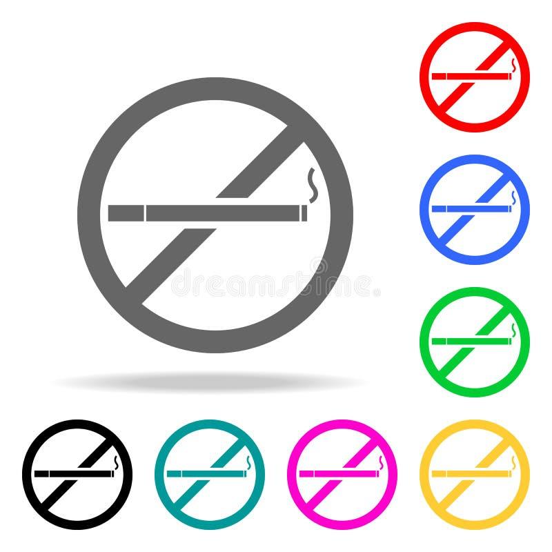 Inget - röka symbolen Mång- kulöra symboler för beståndsdelbrandmän för mobila begrepps- och rengöringsdukapps Symbol för website vektor illustrationer