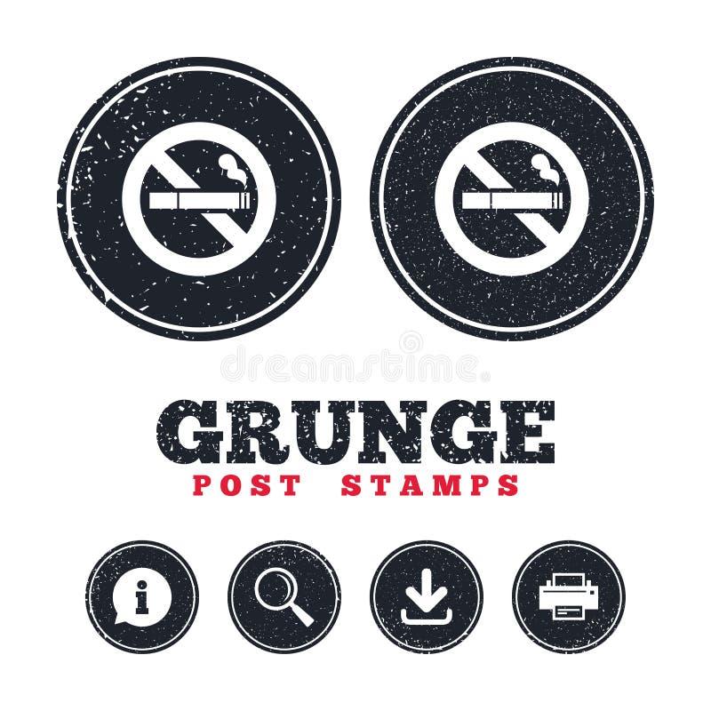 Inget - röka teckensymbolen Cigarettsymbol stock illustrationer