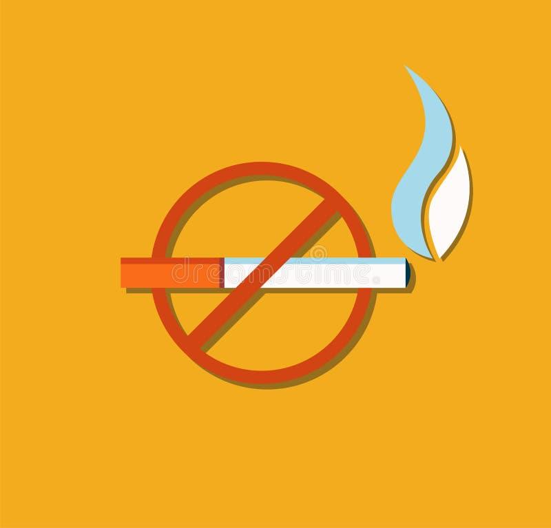 Inget - röka tecknet korsade den brinnande cigarettvektorn stock illustrationer