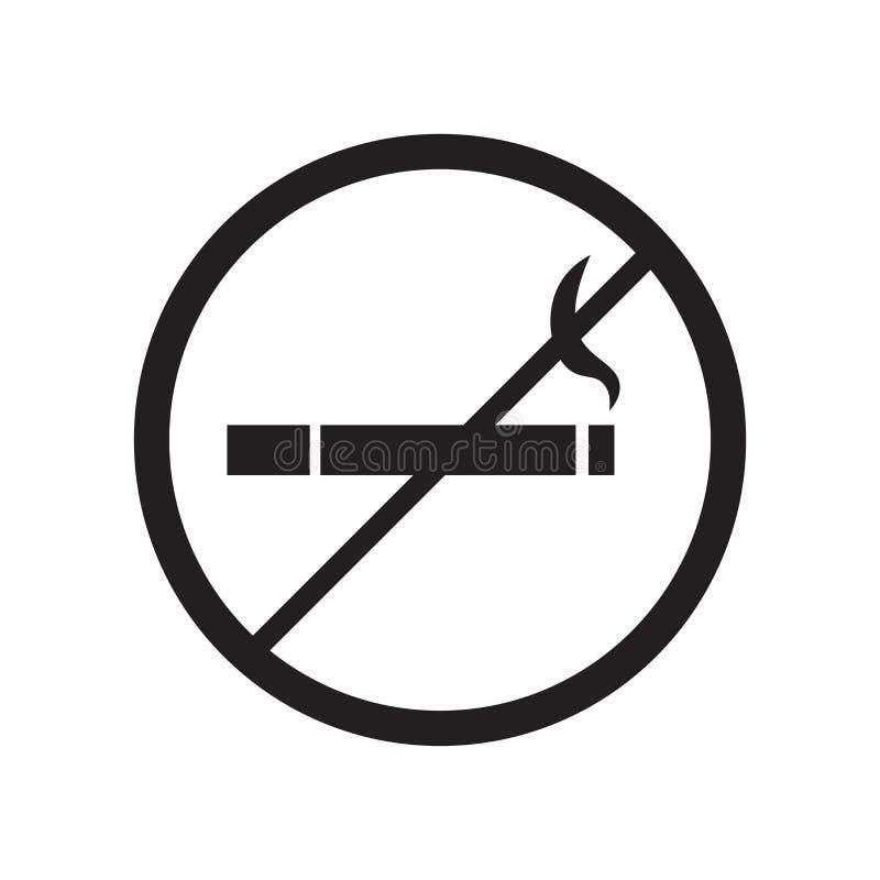 Inget - röka tecknet och symbolet för teckensymbolsvektor som isoleras på vit bakgrund som är ingen - röka teckenlogobegrepp stock illustrationer