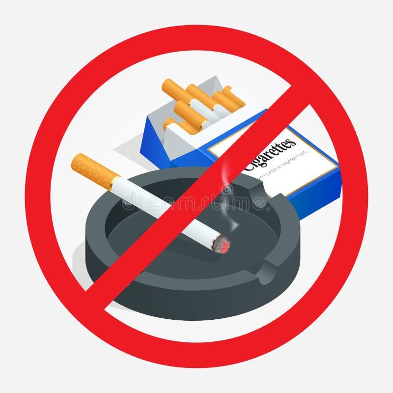 Inget - röka underteckna på vitbakgrund förbjuda teckenrökning Sund livsstil Risken till hälsa vektor illustrationer
