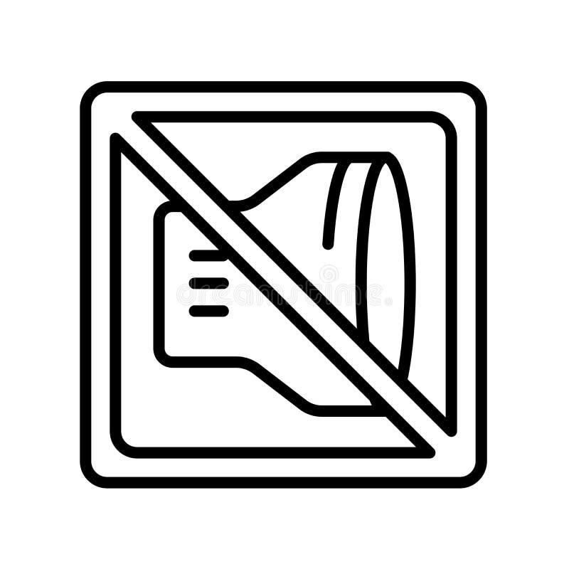 Inget ropa symbolsvektortecken och symbol som isoleras på vit backgr stock illustrationer